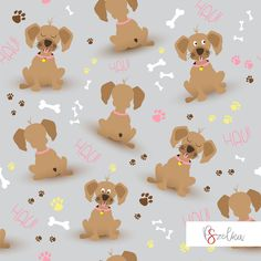 Sweet dogs - textile surface pattern design for girls or boys with dogs in gray background.