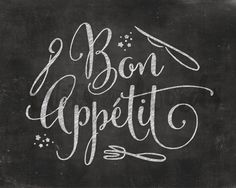Bon Appetit / PRINTABLE Chalkboard Quote Print / par WITSandWORDS