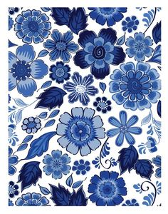 Patricia's Portfolio: Delft Blue Fabric and Quilt Design blue white floral flower Delft, Pattern Floral, Pattern Art, Simple Pattern, Blue And White China, Blue China, Fabric Patterns, Print Patterns, Quilting Designs
