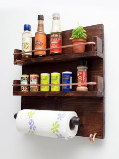 Handmade Wood and copper Spice Rack with Kitchen roll holder / kitchen storage / pantry