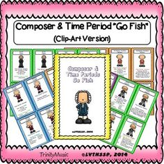 """Got any Bach's?"" If not then, it's time to ""Go Fish!"" These little cards are just too cute!  My husband finds something new every time he looks at the information on the cards. This file is in PDF form.  Use this game as a fun learning tool!  What you get in the ""Go Fish"" Game: 4 sets  of cards for 12 Composers from four of the time periods in music history (Baroque, Classical, Romantic and Modern) so that's a total of 48 cards that each measure approximately 3"" x 4.5"" when cut out!"