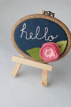 Embroidery Hoop Art. Hello Felt Flower Wall by CatshyCrafts, $25.00