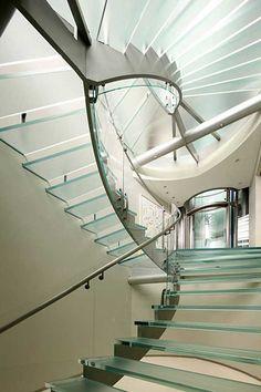 Future Home, Modern House, Futuristic Interior, glass stairs, futuristic design… Futuristic Interior, Futuristic Design, Spiral Staircase, Staircase Design, Glass Elevator, Escalier Design, Balustrades, Glass Stairs, Beautiful Stairs