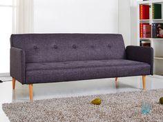 Canapé clic-clac tissu 2 places + pieds bois design LAURETTA Gris foncé