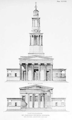 West and East elevations of St. Pancras Church, London