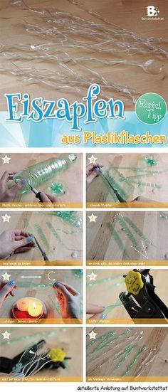 Icicles from plastic bottles Instructions - Icicles from plastic bottles Instructions Informations About Eiszapfen aus Plastikflaschen Anleitun - Reuse Plastic Bottles, Plastic Bottle Crafts, Diy Bottle, Recycled Bottles, Diy Christmas Ornaments, Holiday Crafts, Diy Icicle Ornaments, Recycled Crafts, Diy Crafts