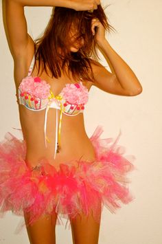 I Dream of Cupcakes Rave Costume/Bra/Outfit/Tutu by ICaughtTheSun, $110.00... I would wear this will cleaning the house lmao.. too cute!