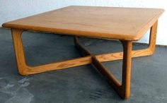 Retro (likely mid-century) modern vintage Lane wooden coffee table - light blonde wood tone, low square with rounded corners - measures 34 x 34 x H 15 in. Underside stenciled: Lane 4384011 STYLE NO. 1