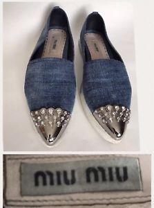 e68c239061b MIU MIU By Prada Shoes Size 38.5   8.5 Denim White Crystal Rhinestones  Loafers
