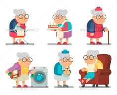 Household Granny Old Lady Character Cartoon Flat