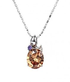 Little Dolphin with Small Purple and Big Orange CZ Pendant Necklace #Zircon #Necklace