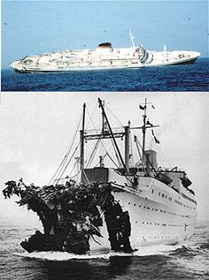 On the evening of July 1956 off the fogbound coast of Nantucket, Massachusetts, the Italian luxury liner Andrea Doria was struck mid-ship by the bow of the Swedish ship Stockholm. 52 lives were lost in the disaster, and the Andrea Doria sank the next day. Andrea Doria, Abandoned Ships, Shipwreck, Tall Ships, Water Crafts, Battleship, Titanic, East Coast, Sailing Ships