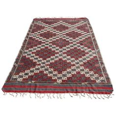 Vintage Turkish Kilim Rug - 4′2″ × 6′7″ (2,045 CAD) ❤ liked on Polyvore featuring home, rugs, traditional handmade rugs, hand made wool rugs, kilim rugs, handmade wool rugs, wool area rugs and hand woven area rugs