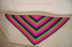 Mi rinconcito de labores: Chal de ganchillo/crochet tricolor