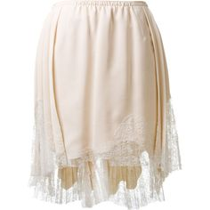 Nina Ricci beige silk and lace pleated skirt found on Polyvore