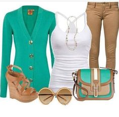 Love this teal/tan combo fall outfit
