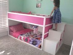 IKEA Kura bunk bed with Trofast stairs.                                                                                                                                                                                 More