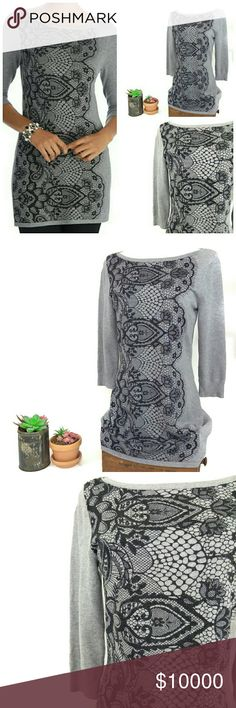 """WHBM Lace Print 3/4 Sleeve Grey Sweater Tunic Excellent used condition! Worn once.   Size Small. 16.5"""" pit to pit, 16"""" at tightest (there is plenty of stretch,) 19"""" sleeves, 31"""" long from shoulder to hem!   Incredibly soft and feminine lace print White House Black Market 3/4 sleeve boatneck sweater tunic! Ribbed sleeve cuffs. Very stretchy and soft like butter with a Rayon and Nylon blend! Cami/bra strap clips inside shoulders. Pair with leggings, skinny jeans and boots or heels! White House…"""