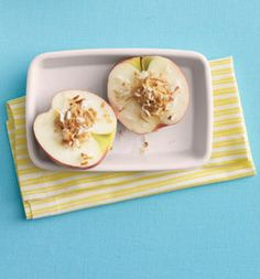 Pb And Coconut Apple Halves Recipe | Self Top each apple half with peanut butter and coconut.