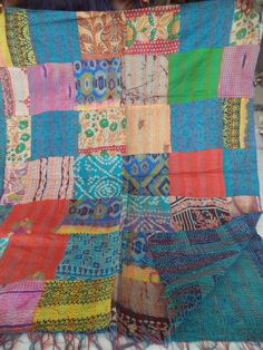 Vintage Silk Hand Quilted Kantha Circle Work Stoles Reversible Scarves  038