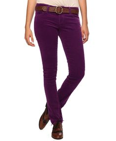 Dark brown cords with a colored sweater in purple or blue ...