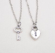 2 best friend lock and key necklaces, set of two, key to my heart necklace, friendship necklaces,gift for couple,his and hers jewelry,sister on Etsy, $20.00: