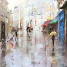 Yellow Umbrella - Susie Pryor   Oil on canvas, 48 x 48 SOLD