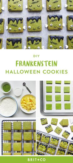 Bake a batch of Green Tea Frankenstein Halloween Cookies by following this easy fall dessert recipe.