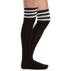 Charlotte Russe Black Combo Sporty-Striped Over-the-Knee Socks by... ($8.99) ❤ liked on Polyvore featuring intimates, hosiery, socks, black combo, thigh high hosiery, black socks, black striped socks, ribbed over the knee socks and striped socks