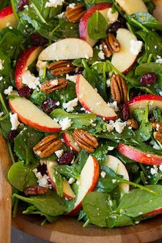 This has everything I love in a salad! Apple Pecan Feta Spinach Salad with Maple Cider Vinaigrette - Cooking Classy Healthy Salads, Healthy Eating, Healthy Recipes, Healthy Cooking, Healthy Foods, Cooking Food, Taco Salads, Summer Salads, Soup And Salad
