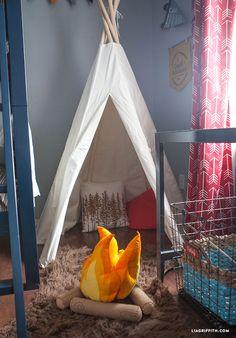 [orginial_title] – Ever + Joy: A Mandi Wiley Company Camping Bedroom Decor Camping_Room_Teepee_Pendants_Felt_Fire Boys Camping Room, Camping Bedroom, Camping Theme, Camping With Kids, Camping Tips, Tent Bedroom, Bedroom Themes, Home Decor Bedroom, Kids Bedroom