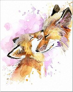 Watercolor Art Print, Poster on Fine Art Thick Watercolor Paper for Childrens Kids Room, Bedroom, Bathroom. Wall Art Decor with Animals for Boys, Girls. Watercolor Animals, Watercolor Paper, Watercolor Paintings, Fox Painting, Painting & Drawing, Cute Animal Drawings, Cute Drawings, Fox Drawing, Fox Art