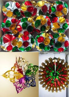 Multi-coloured 3D Foil Christmas Decorations - these were high-tech, more advanced than the paper variations.