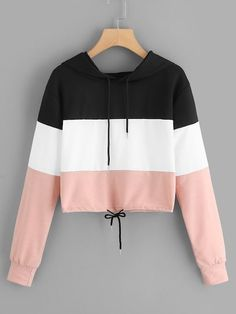 Shop Cut And Sew Panel Drawstring Hoodie online. ROMWE offers Cut And Sew Panel Drawstring Hoodie & more to fit your fashionable needs. Cute Teen Outfits, Cute Comfy Outfits, Teenager Outfits, Outfits For Teens, Pretty Outfits, Stylish Outfits, Cool Outfits, Summer Outfits, Girls Fashion Clothes