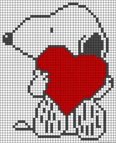 Snoopy love perler bead pattern used for afghan Loom Patterns, Beading Patterns, Cross Stitching, Cross Stitch Embroidery, Cross Stitch Patterns, Pixel Crochet, Crochet Chart, Pixel Art, Friendship Bracelet Patterns