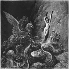 "Ruggiero rescuing Angelica, illustration from Canto X of Orlando Furioso  Gustav motherfucking Dore, my favoritist ever illustrator, yo.  I've got a copy of ""The Rime of the Ancient Mariner"" with all his original illustrations (prized possession, lol) and same with Dante's Inferno  He also did good chunks of the Bible and is just amazing generally"