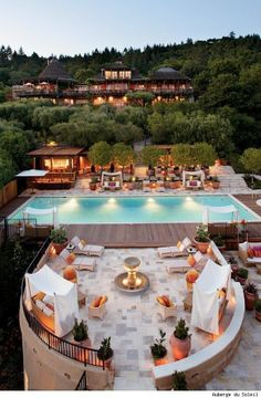 Outdoor pool and terrace area at the Auberge du Soleil: Napa Valley Hotel, Restaurant & Spa Resort.