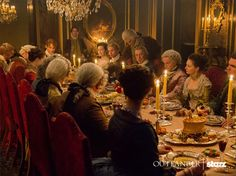 """Gather 'round lads and lassies, today we feast. Slàinte mhath!. From the Starz adaptation of the book """"Dragonfly in Amber"""" by Diana Gabaldon. Jamie and Claire hosting a dinner party in Paris. Outlander Season 2"""