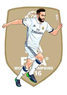 Carvajal Ronaldo Real Madrid, Real Madrid Team, Real Madrid Football Club, Football Love, Football Players, Fotos Real Madrid, Sports Art, Caricature, Soccer