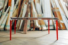 The Floyd Leg lets you take any surface and turn it into a table by clamping on four brightly colored industrial legs.