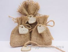 """50 x Mini Burlap Hessian Wedding Favour Bags and Rustic Stone Heart Charms 2.5"""" x 3.5"""" - Personalised on Etsy, $73.99 AUD"""