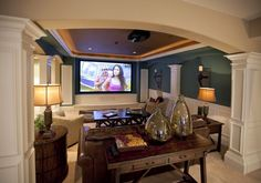 With a sensational media room like one of these, you'll want to cancel your plans and stay in. Media rooms, Movie theater, Basement movie room, Home ideas, Living room and Tv rooms.