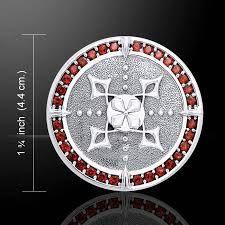 Viking Shield Pendant in Sterling Silver with multiple garnet gemstones - Norse Nordic Solar Shield Viking Shield, Viking Warrior, Norse Vikings, Garnet Gemstone, Stone Jewelry, Sterling Silver Pendants, Gemstones, Solar, Necklaces