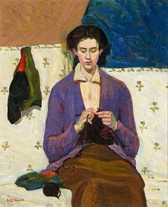Grace Cossington Smith, The Sock Knitter, 1915 ( oil on canvas)