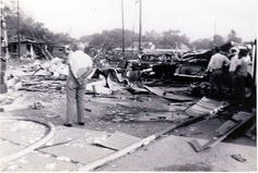 April 16, 1947 | Fire Causes Huge Explosion in Texas City.  America's worst harbor explosion occurred in Texas City, Tex., when the French ship Grandcamp, carrying ammonium nitrate fertilizer, caught fire and blew up, devastating the town.