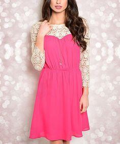 Hot Pink & Cream Lace-Sleeve Sweetheart Dress