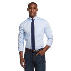 Men's Button Down Shirt Spread Collar Blue - Merona