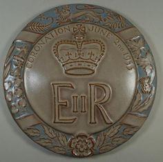 Malkin Tiles Embossed Commemorative Ceramic Circular Tile Plaque Coronation 1953 | eBay