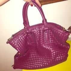 wine colored woven faux leather bag shoulder or handbag. versatile. a lot of room and compartments. a perfect bag. JustFab Bags Shoulder Bags