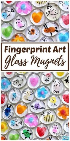 Invite your children to use their fingertips and thumbs to make Fingerprint Art Glass Magnets. Thumbprint art glass magnets are an easy craft for kids. DIY glass magnets with fingerprint art also make…More Easy Crafts For Kids, Toddler Crafts, Art For Kids, Diy And Crafts, Kids Diy, Crafts For Girls, Mothers Day Crafts For Kids, Simple Craft Ideas, Kids Craft Projects